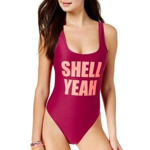 Shell Yeah Wine & Peach Cheeky One-Piece Swimsuit